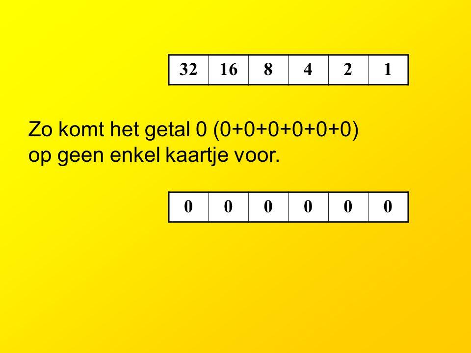 Zo komt het getal 0 (0+0+0+0+0+0) op geen enkel kaartje voor.