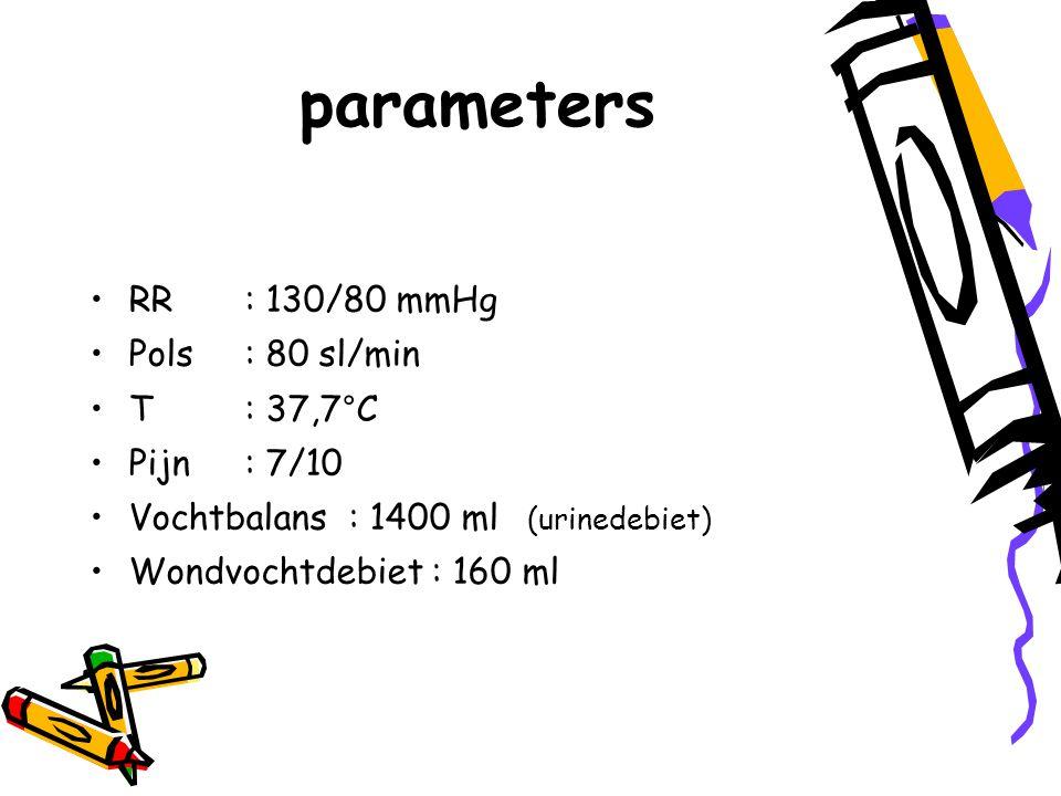 parameters RR : 130/80 mmHg Pols : 80 sl/min T : 37,7°C Pijn : 7/10