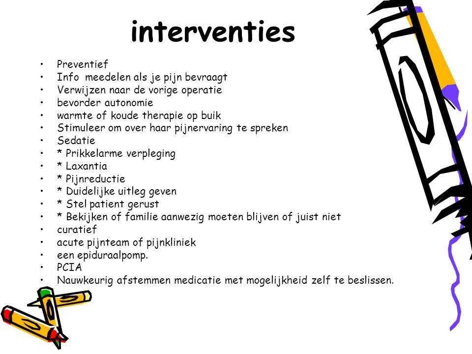 interventies Preventief Info meedelen als je pijn bevraagt