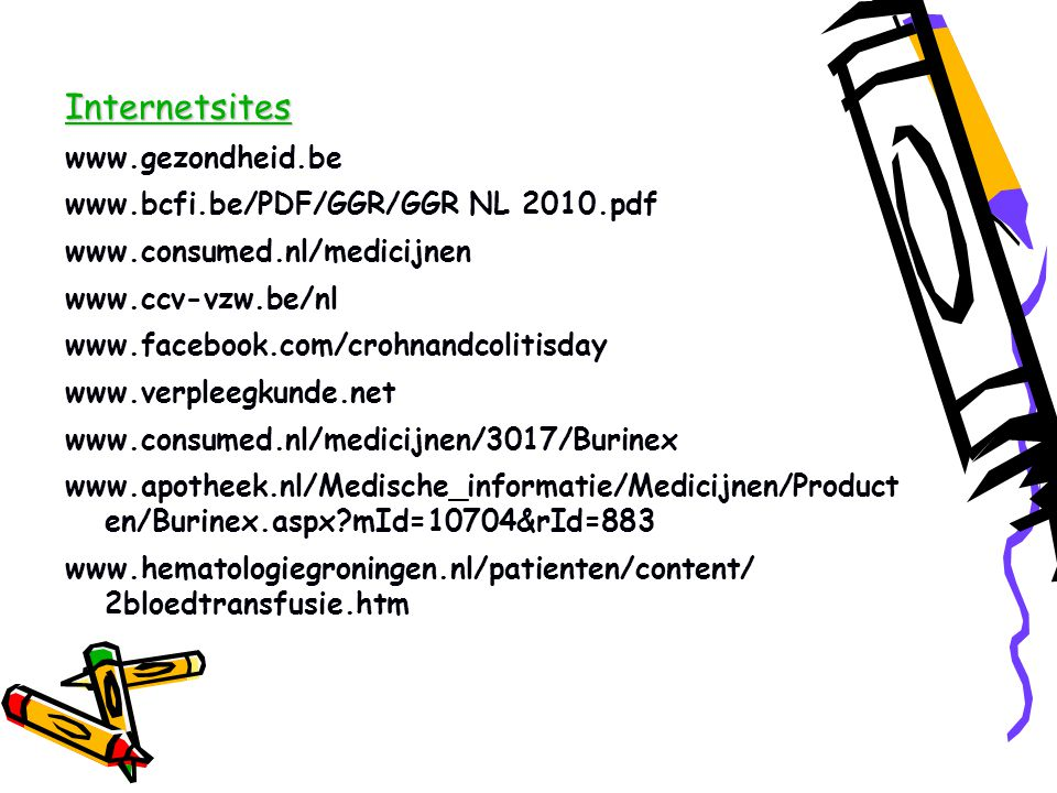 Internetsites www.gezondheid.be www.bcfi.be/PDF/GGR/GGR NL 2010.pdf