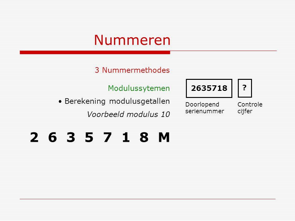 Nummeren 2 6 3 5 7 1 8 M 3 Nummermethodes Modulussytemen