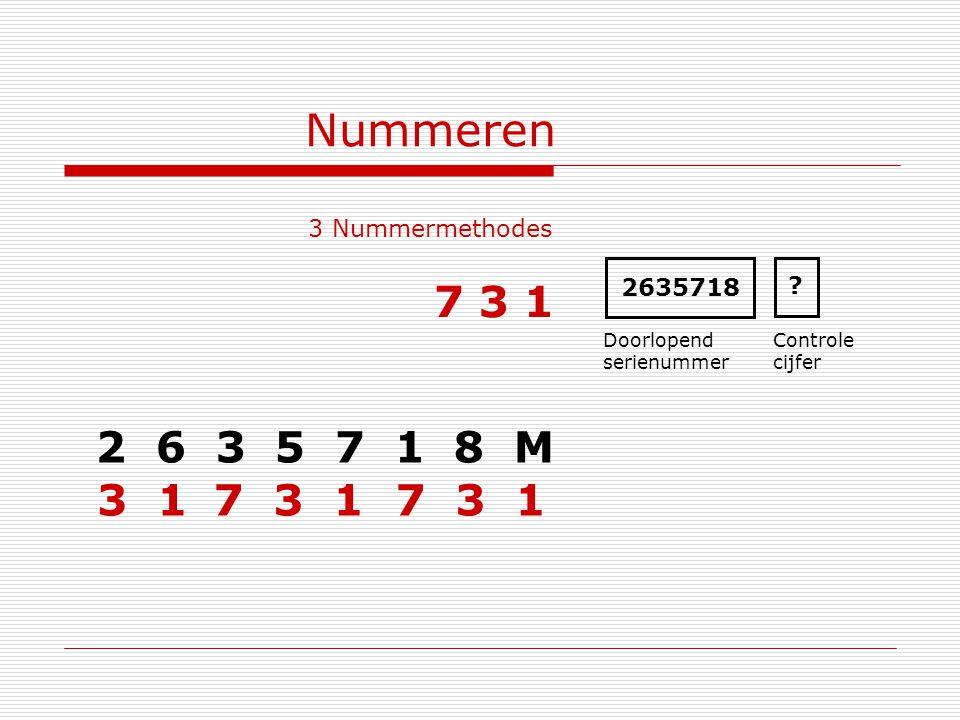 Nummeren 7 3 1 2 6 3 5 7 1 8 M 3 1 7 3 1 7 3 1 3 Nummermethodes