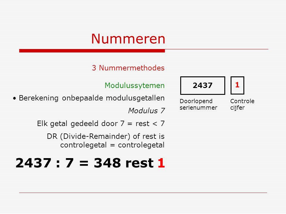 Nummeren 2437 : 7 = 348 rest 1 3 Nummermethodes Modulussytemen