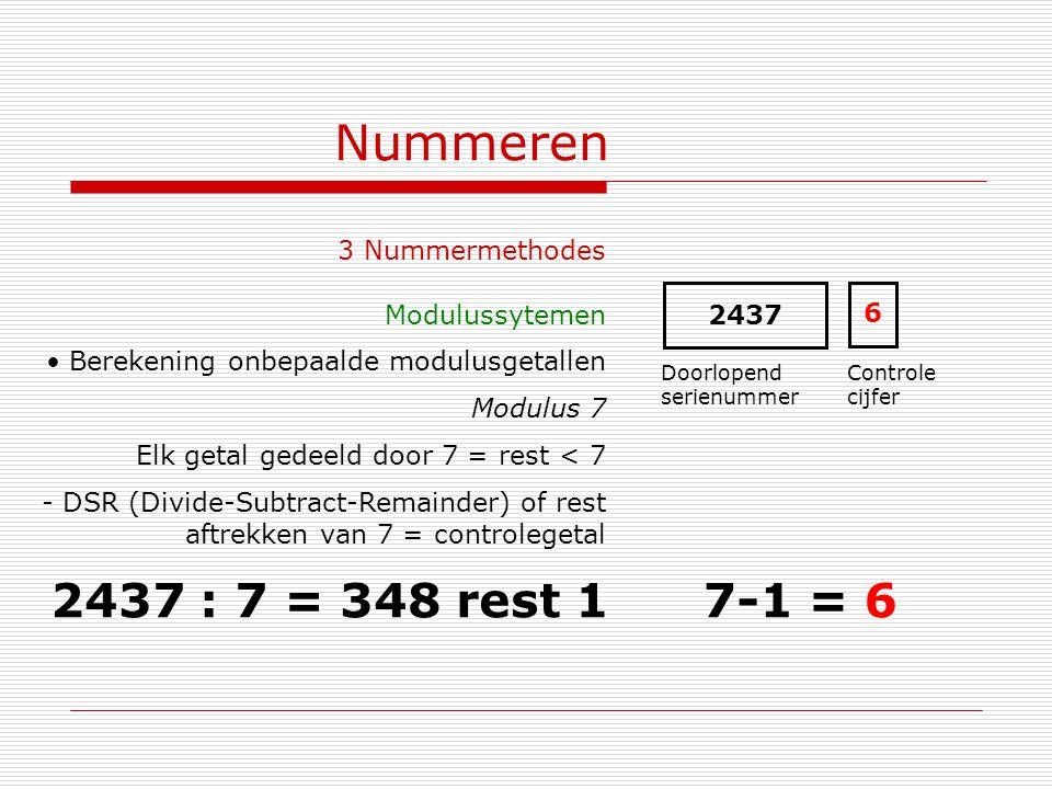 Nummeren 2437 : 7 = 348 rest 1 7-1 = 6 3 Nummermethodes Modulussytemen