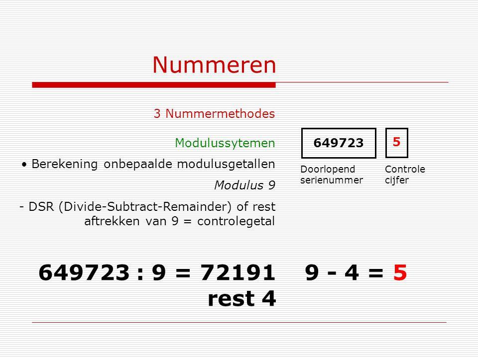 Nummeren 649723 : 9 = 72191 rest 4 9 - 4 = 5 3 Nummermethodes