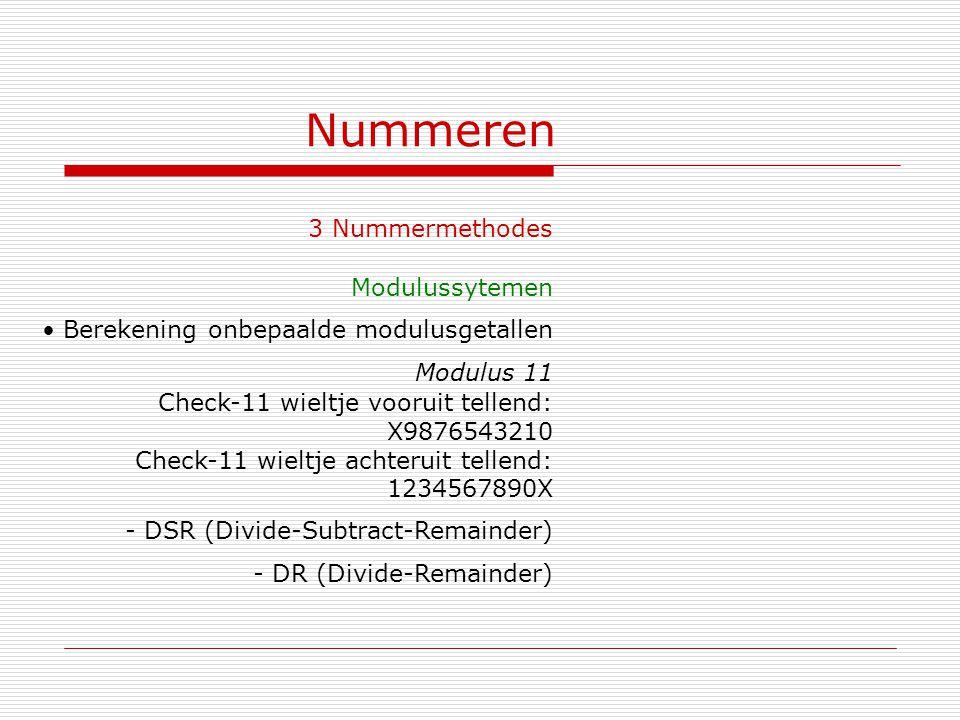 Nummeren 3 Nummermethodes Modulussytemen