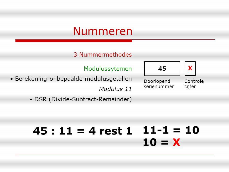 Nummeren 45 : 11 = 4 rest 1 11-1 = 10 10 = X 3 Nummermethodes