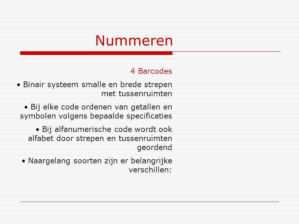 Nummeren 4 Barcodes. Binair systeem smalle en brede strepen met tussenruimten.