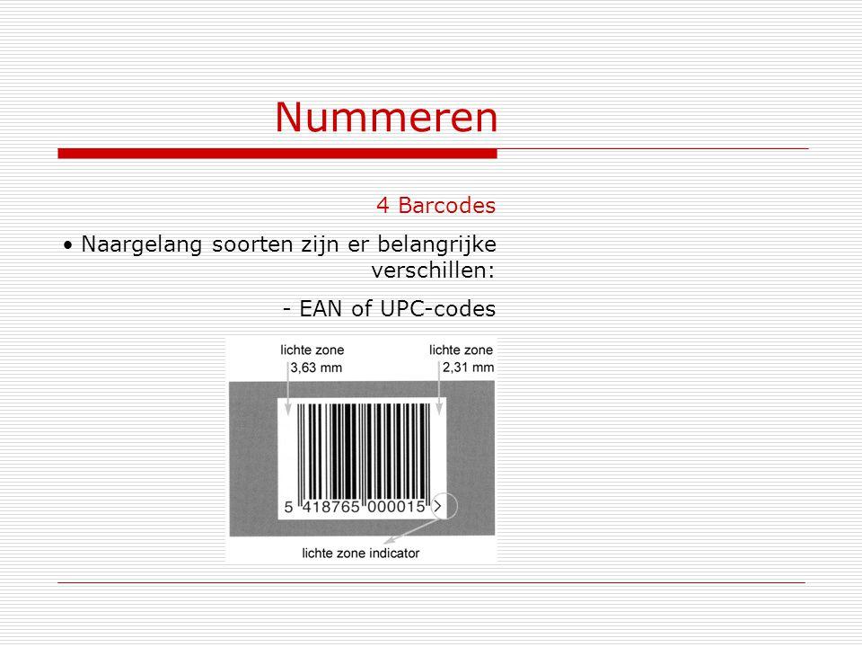 Nummeren 4 Barcodes Naargelang soorten zijn er belangrijke verschillen: EAN of UPC-codes