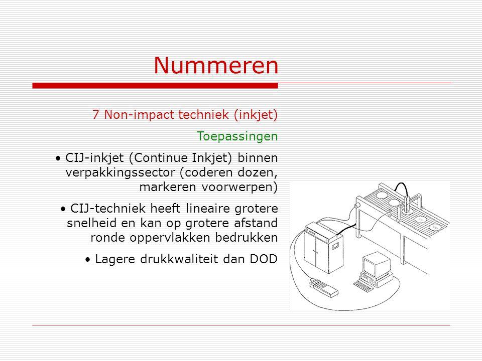 Nummeren 7 Non-impact techniek (inkjet) Toepassingen
