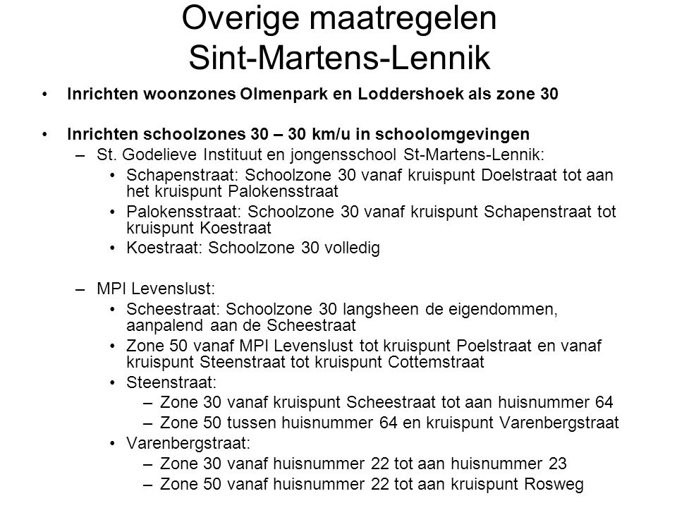 Overige maatregelen Sint-Martens-Lennik