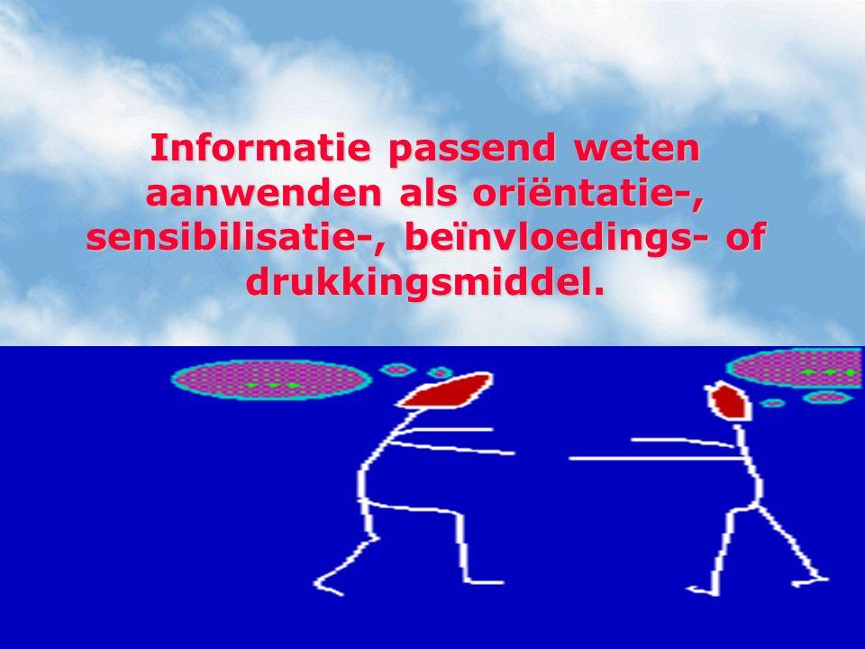 Informatie passend weten aanwenden als oriëntatie-, sensibilisatie-, beïnvloedings- of drukkingsmiddel.