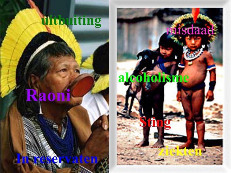 uitbuiting misdaad alcoholisme Raoni Sting ziekten In reservaten