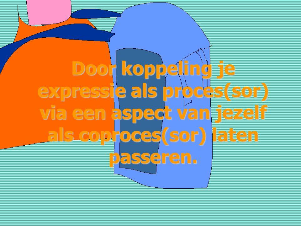 Door koppeling je expressie als proces(sor) via een aspect van jezelf als coproces(sor) laten passeren.