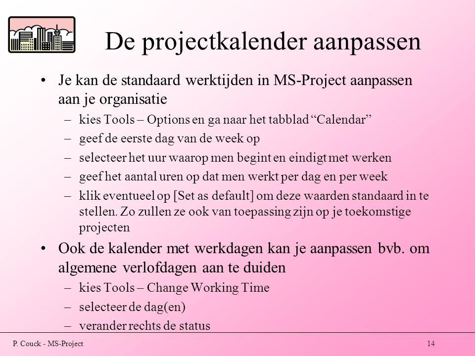 De projectkalender aanpassen