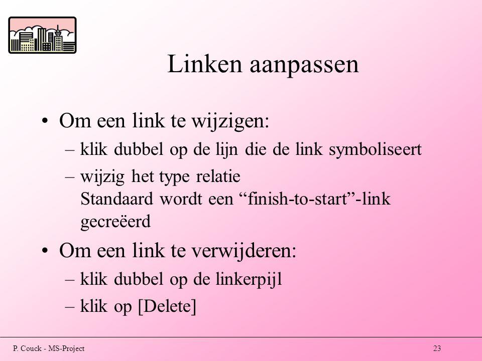 Linken aanpassen Om een link te wijzigen: Om een link te verwijderen: