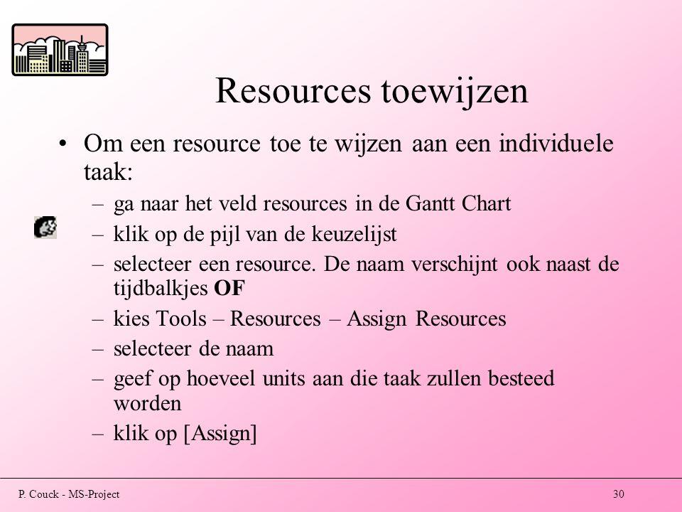 Resources toewijzen Om een resource toe te wijzen aan een individuele taak: ga naar het veld resources in de Gantt Chart.
