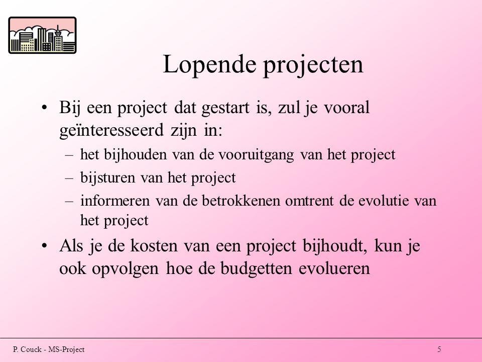 Lopende projecten Bij een project dat gestart is, zul je vooral geïnteresseerd zijn in: het bijhouden van de vooruitgang van het project.