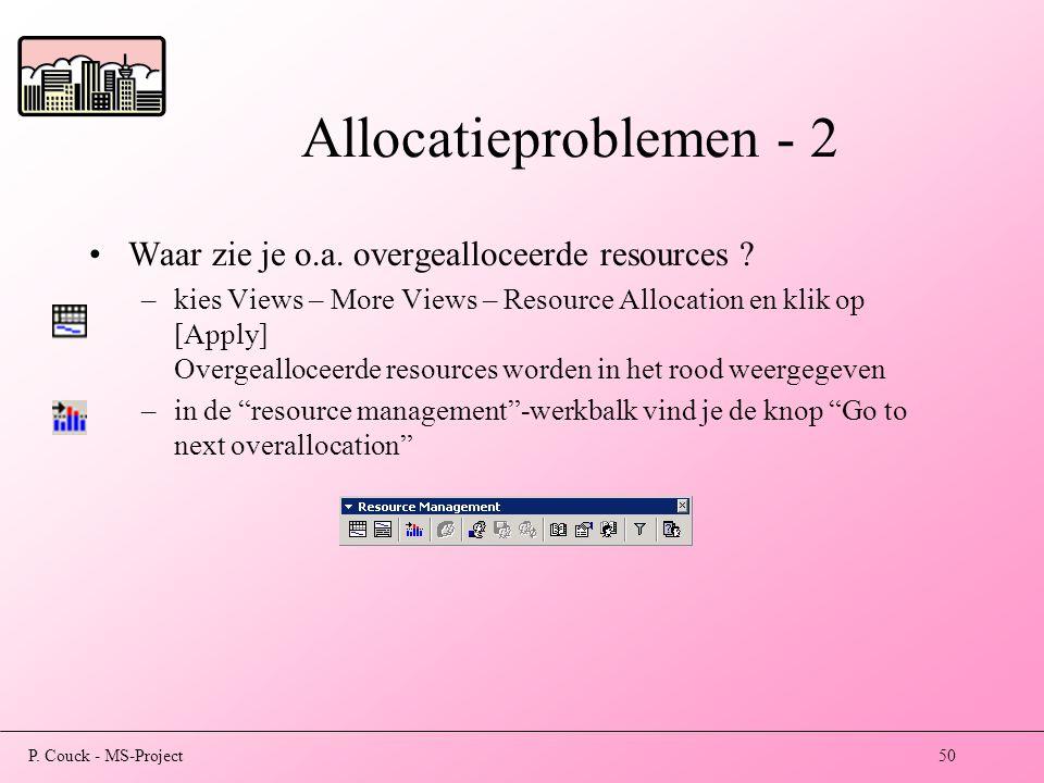 Allocatieproblemen - 2 Waar zie je o.a. overgealloceerde resources