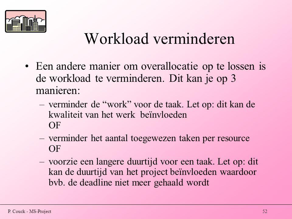 Workload verminderen Een andere manier om overallocatie op te lossen is de workload te verminderen. Dit kan je op 3 manieren: