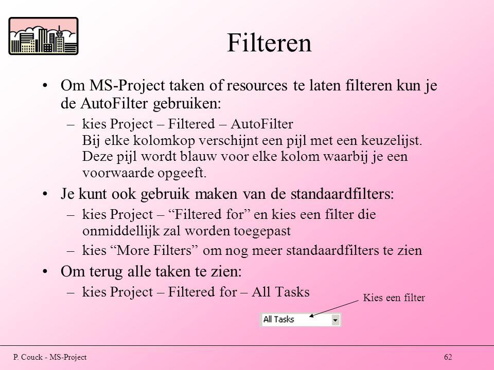 Filteren Om MS-Project taken of resources te laten filteren kun je de AutoFilter gebruiken: