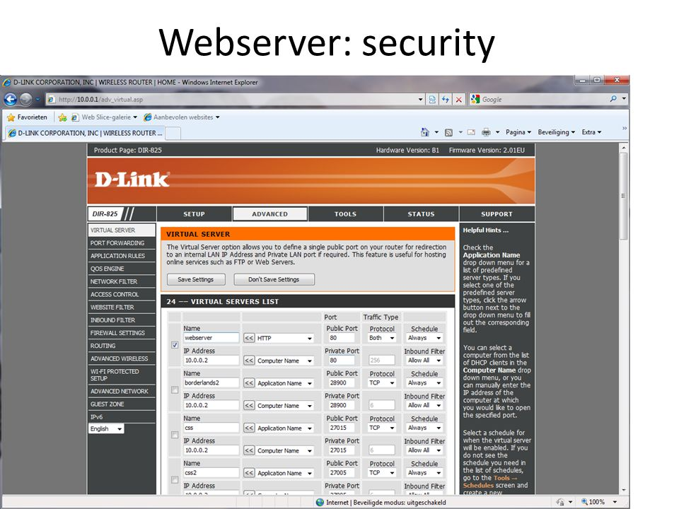 Webserver: security