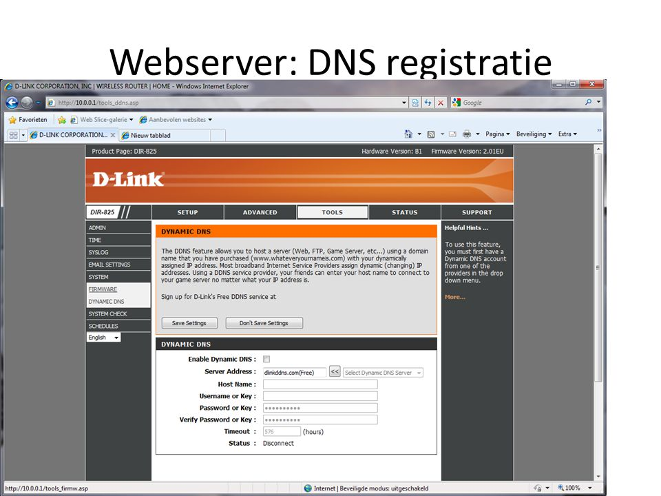 Webserver: DNS registratie
