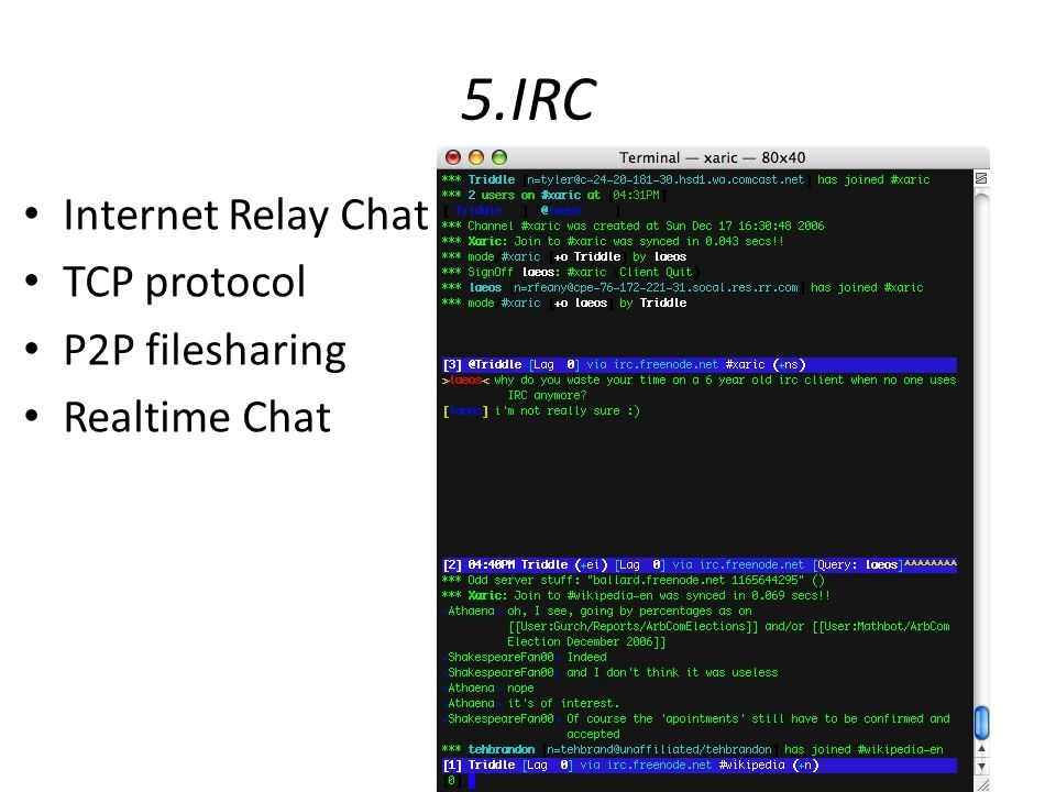5.IRC Internet Relay Chat TCP protocol P2P filesharing Realtime Chat