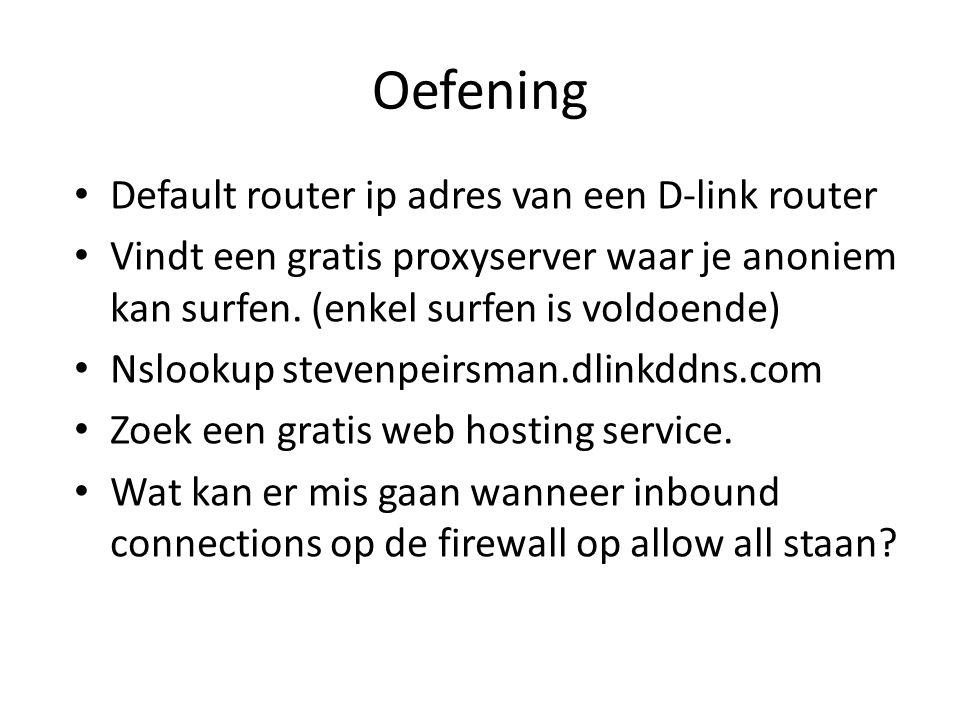 Oefening Default router ip adres van een D-link router