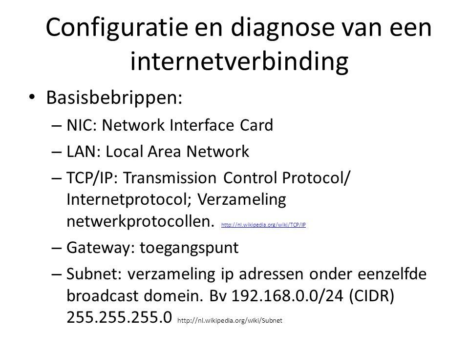 Configuratie en diagnose van een internetverbinding