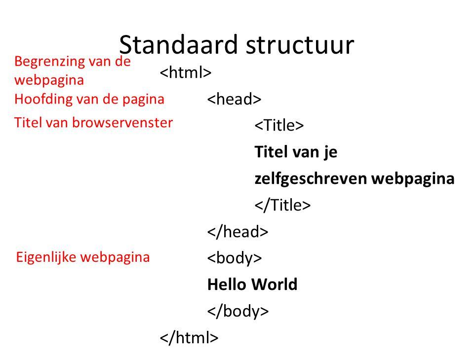 Standaard structuur Begrenzing van de webpagina.
