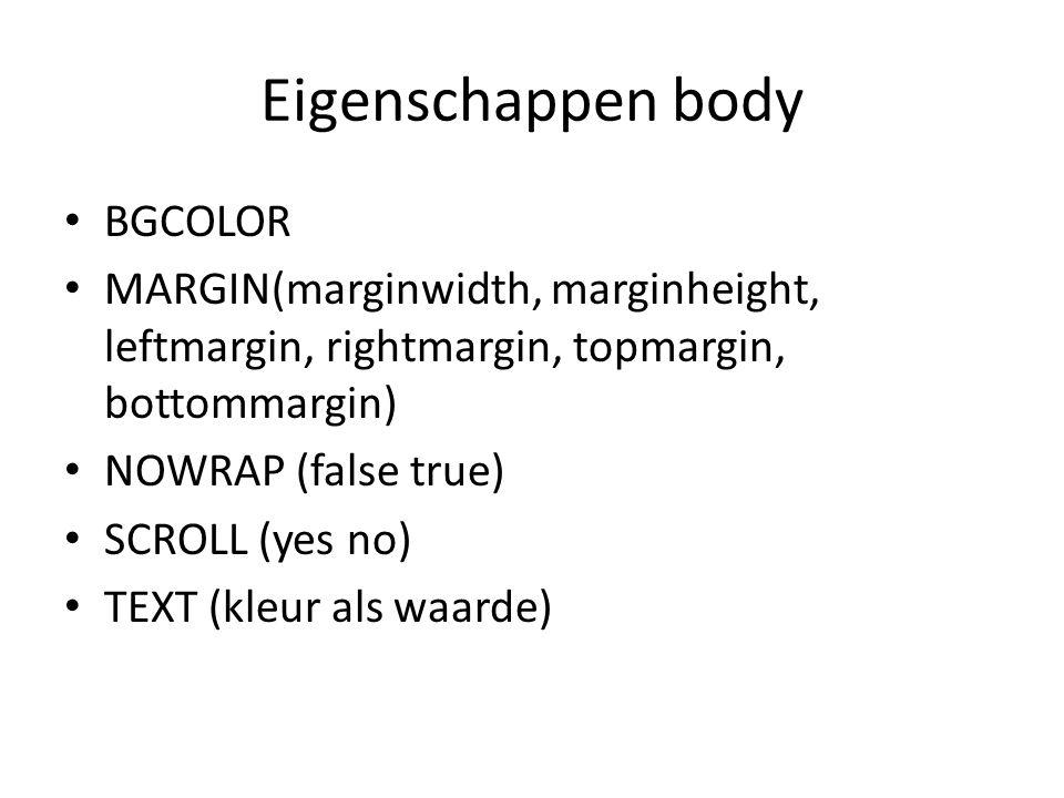 Eigenschappen body BGCOLOR