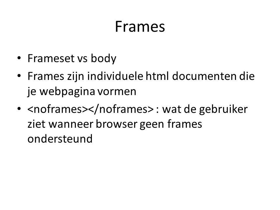 Frames Frameset vs body