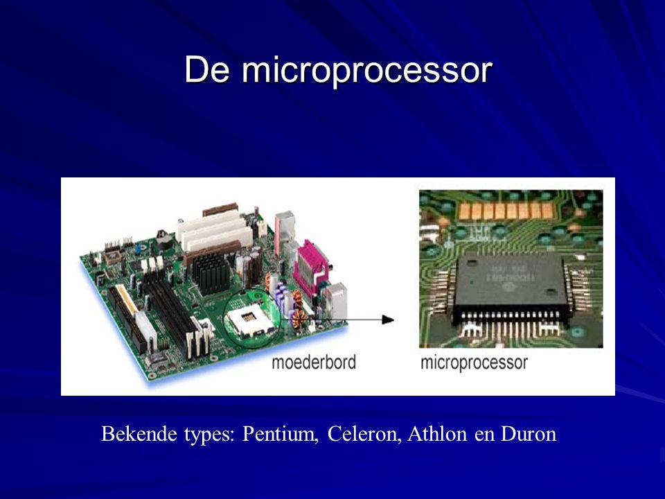 De microprocessor Bekende types: Pentium, Celeron, Athlon en Duron