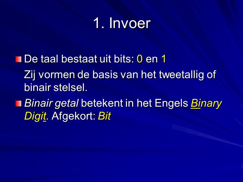 1. Invoer De taal bestaat uit bits: 0 en 1