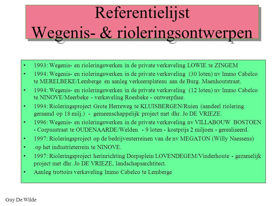 Referentielijst Wegenis- & rioleringsontwerpen
