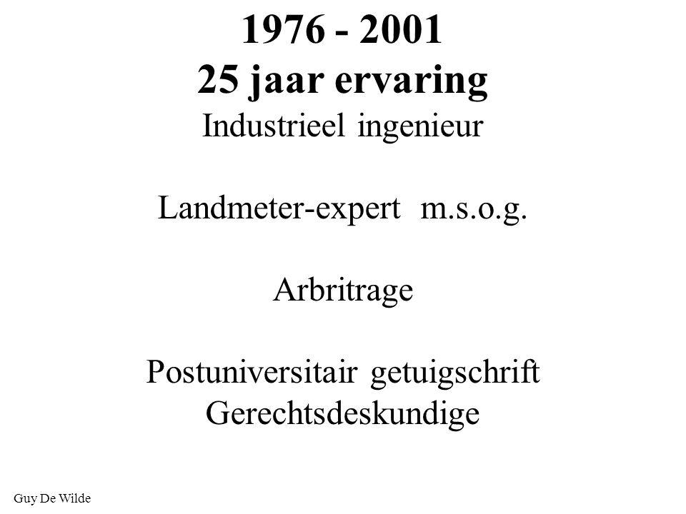 1976 - 2001 25 jaar ervaring Industrieel ingenieur Landmeter-expert m