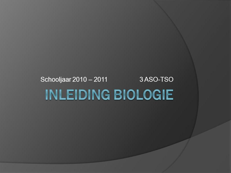 Schooljaar 2010 – 2011 3 ASO-TSO Inleiding biologie