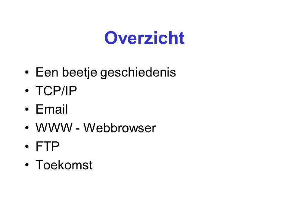 Overzicht Een beetje geschiedenis TCP/IP Email WWW - Webbrowser FTP