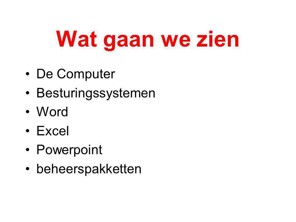Wat gaan we zien De Computer Besturingssystemen Word Excel Powerpoint