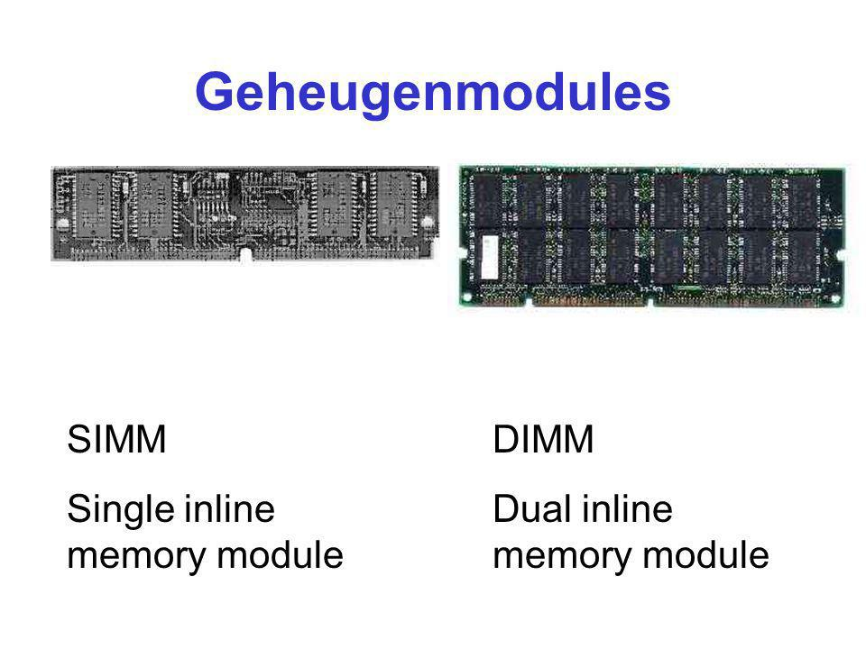 Geheugenmodules SIMM Single inline memory module DIMM