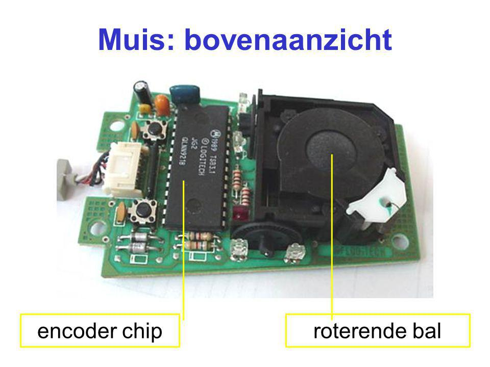 Muis: bovenaanzicht encoder chip roterende bal