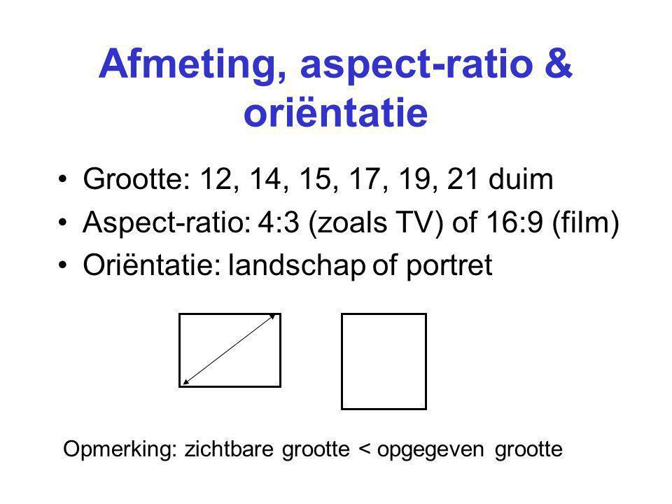 Afmeting, aspect-ratio & oriëntatie
