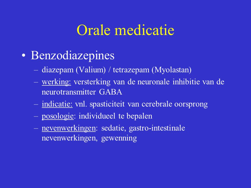 Orale medicatie Benzodiazepines