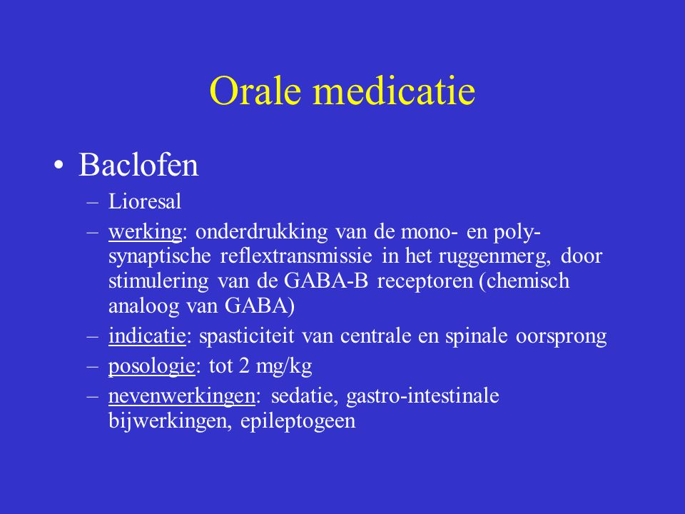 Orale medicatie Baclofen Lioresal