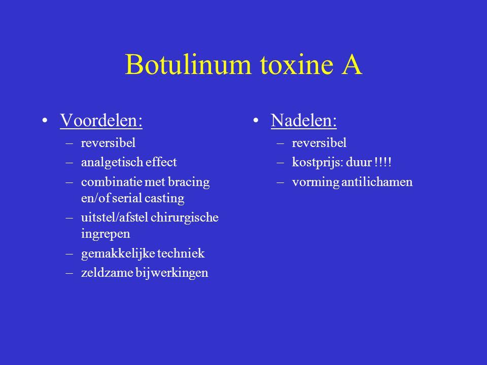 Botulinum toxine A Voordelen: Nadelen: reversibel analgetisch effect