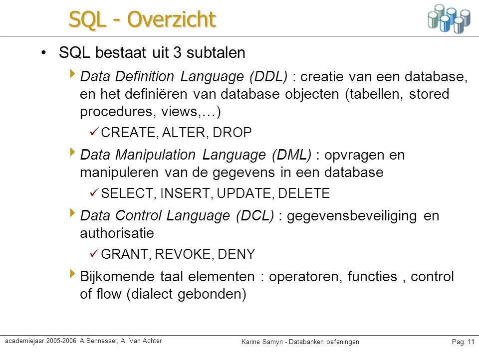 SQL - Overzicht SQL bestaat uit 3 subtalen