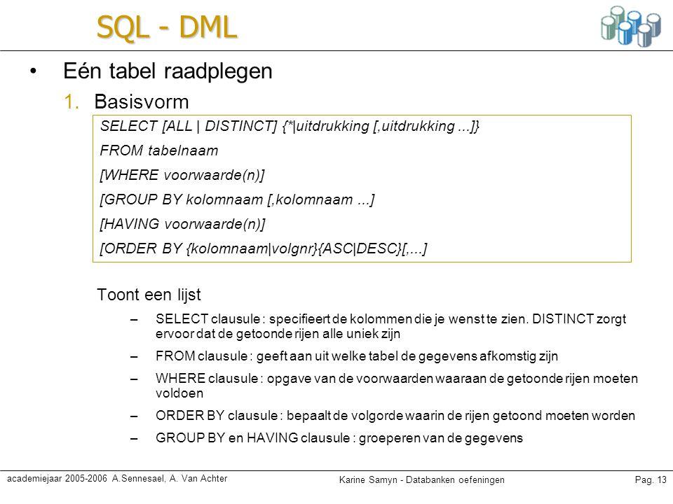 SQL - DML Eén tabel raadplegen Basisvorm Toont een lijst