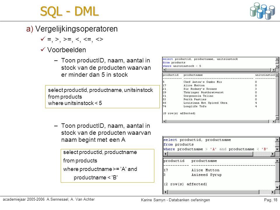 SQL - DML a) Vergelijkingsoperatoren