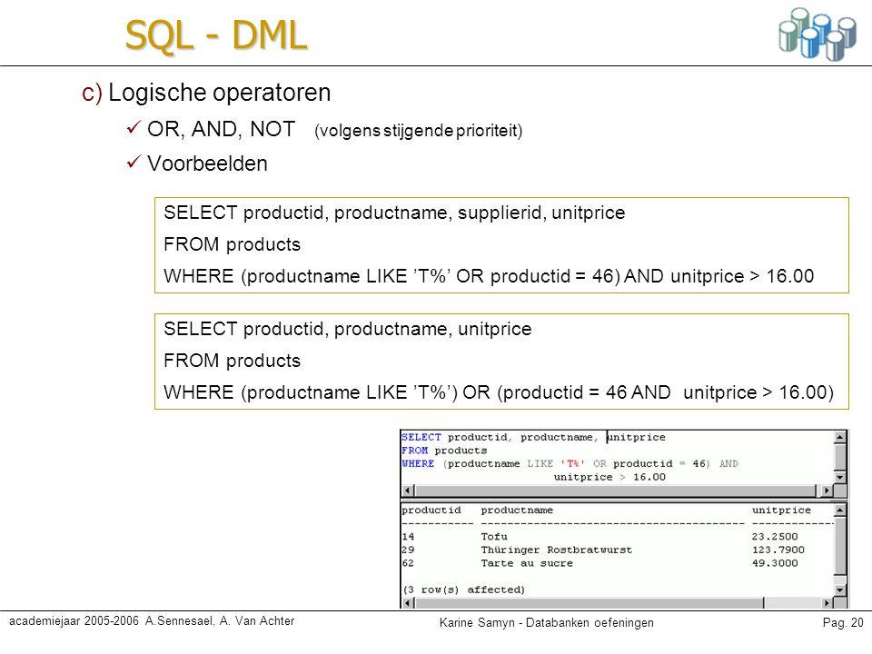 SQL - DML c) Logische operatoren